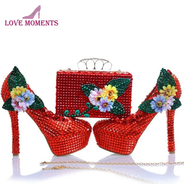 Red Rhinestone Wedding Shoes with Finger Clutch Gorgeous Red Bridal Dress Shoes with Matching Purse Mother of the Bride Shoes