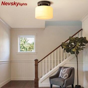 Moderna lámpara de techo de cobre vestíbulo lámparas de techo led sala de estar vidrio americano pasillo de la lámpara del techo lámpara de base de latón escalera