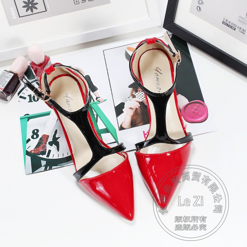 Pointy T Strap Female Pu Pu Patent Leather Designer Shoes font b Women b font font