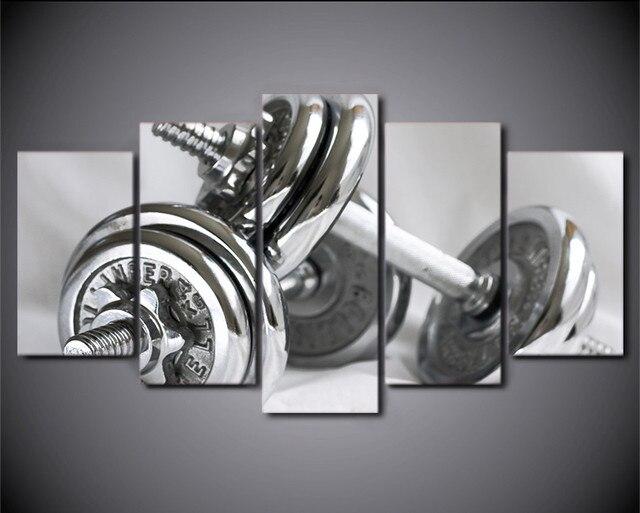 5 Pièce Mur de Toile D\'art Peinture Gym Haltères Affiche Équipements ...