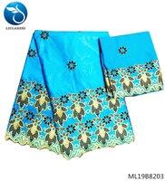 LIULANZHI sky blue lace fabric african materials bazin riche fabric guinea brocade fabric for dress quality 7yard/lot ML19B82
