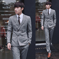2016 chegada nova ternos de vestido de casamento terno de negócio dos homens estilo Britânico de Slim Custom Fit Tuxedo ternos Casuais para homens
