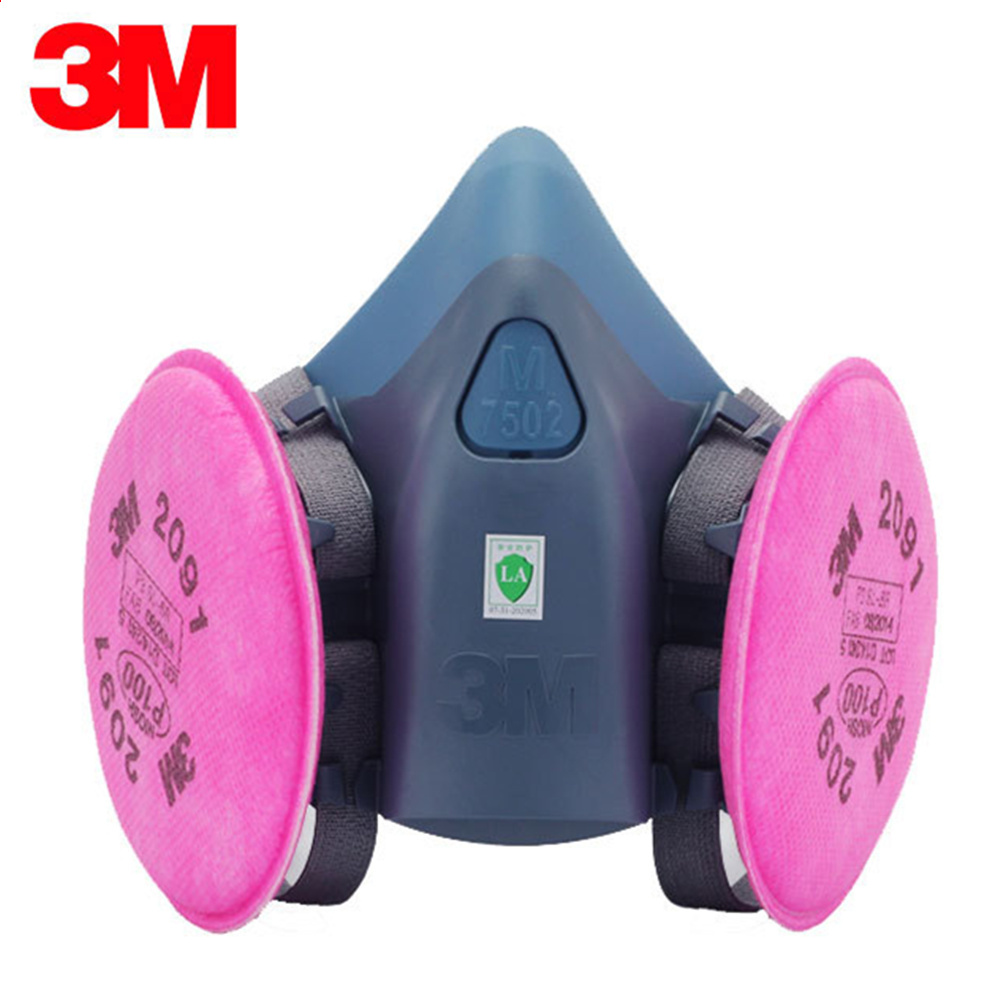3M 7502+2091 Dust Mask Respirator Set Half Facepiece Reusable Anti-dust Mask Respiratory Protection 99.97% Filter Efficiency