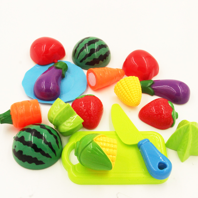 Drop Shipping 10PC /Set Plastic Kitchen Toy Fruit Vegetable Cutting Kids Pretend Play Toy Educational Cook Cosplay Kitchen Toys