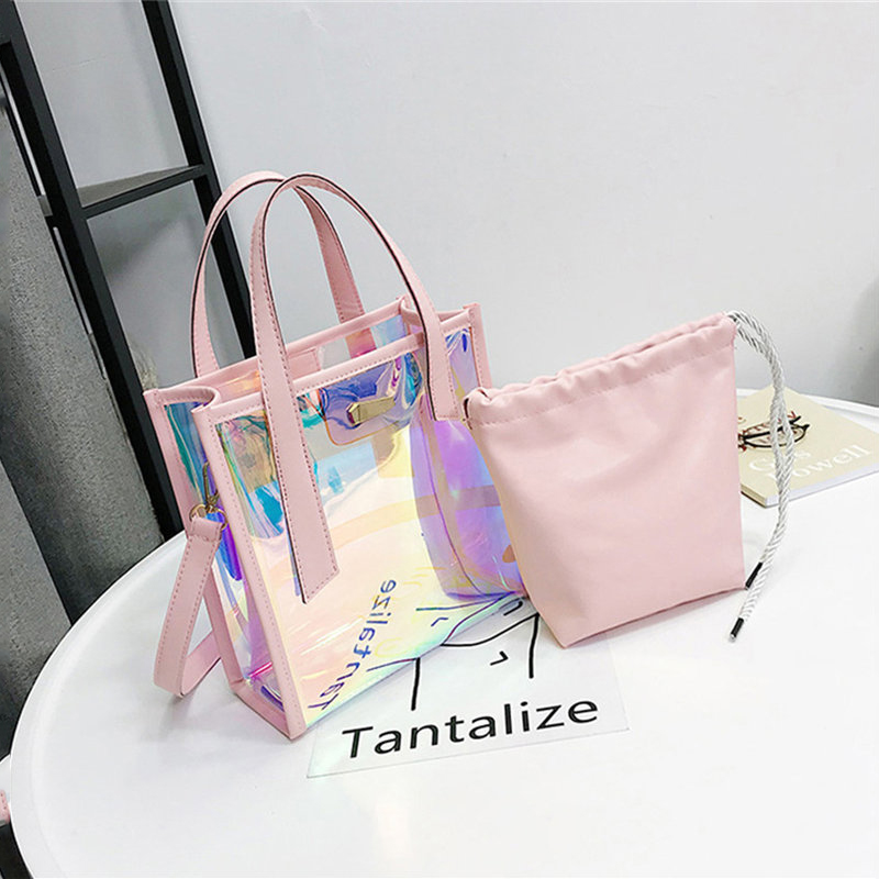 OLD TANG Two-piece Set Women 's Handbags Laser Korean Style Bags Transparent Shoulder Bags Jelly Candy Strap Clear Women Bag