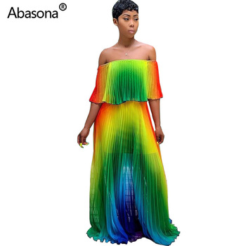 2019 Women Summer Beach Gradient Tie Dye Print Chiffon Big Hem Off Shoulder Maxi Pleated Dress Sexy Bohomian Long Dresses 1