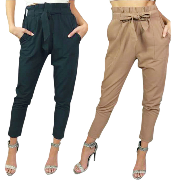 f25556010 Pantalones mujer pantalones de harén pantalones femeninos de cintura alta pantalones  mujer negro crepe lazo cintura