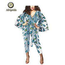2019 african 2-piece suits for women dashiki pure cotton deep V-Neck fare sleeve ankara top+Calf-Length pants AFRIPRIDE S1926015