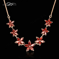 Red Rhinestone Flower Necklaces Pendants Gold Plated Fashion Brand Vintage Jewelry For Women Chains Accessiories DFN023