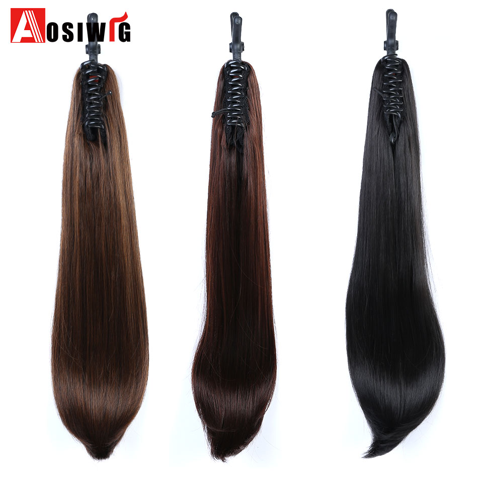 AOSI WIG Long Straight Synthetic Claw Ponytails Hair Extensions 24 160g Black Brown Pure Color Womens Hairpieces