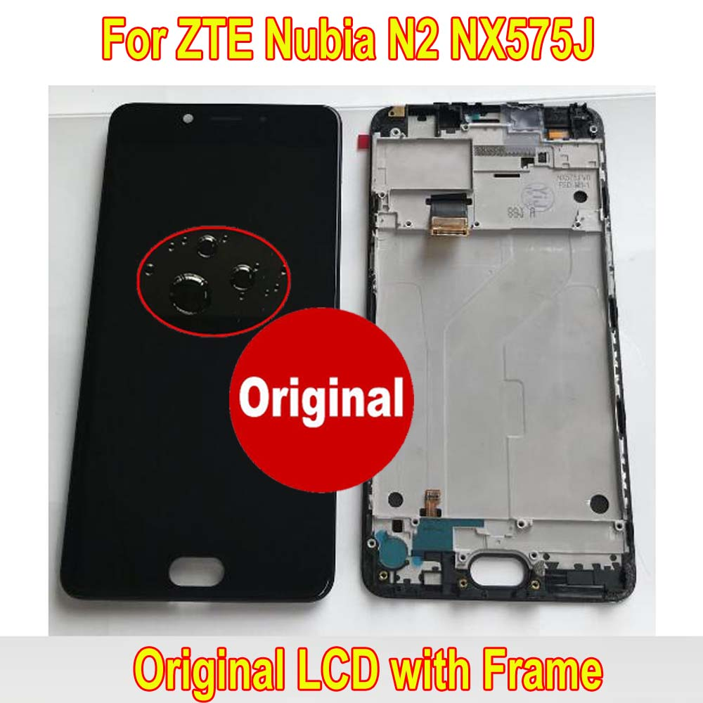 100% Original Working Glass Sensor For ZTE Nubia N2 NX575J LCD Display Touch Screen Digitizer Assembly + Frame Phone Pantalla(China)
