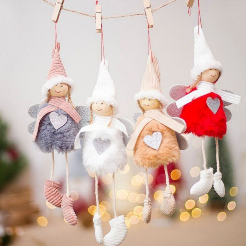 Christmas Ornament Angels From Office Supplies: Small Christmas Drop Ornaments Pendant Cute Angel Plush