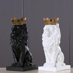 4 цвета, креативная Золотая Корона, статуя льва, Современная смола, черная/белая статуэтка животного, домашнее украшение, настольная скульпт...