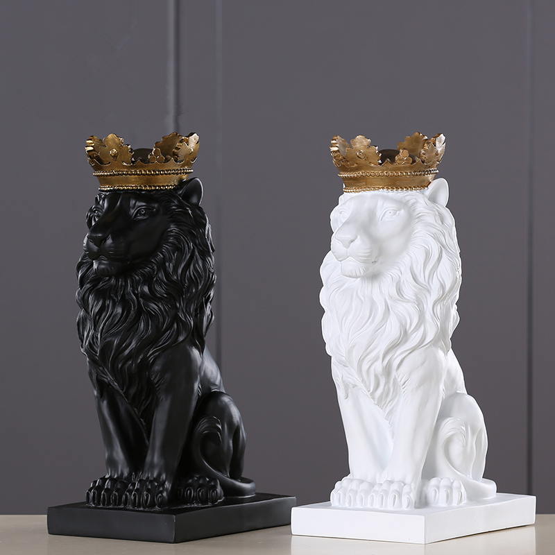 4 Color Creative Golden Crown Lion Statue Modern Resin Black/White Animal Figurine Home Decoration Desktop Crafts Sculpture