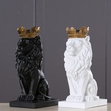 4 Color Creative Golden Crown Lion Statue Modern Resin Black/White Animal Figurine Home Decoration Desktop Crafts Sculpture(China)