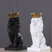 4 Color Creative Golden Crown Lion Statue Modern Resin Black/White Animal Figurine Home Decoration Desktop Crafts Sculpture