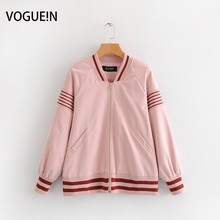 VOGUEIN New Womens Pink Striped Hem Long Sleeve Bomber Jacke