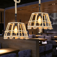 American country Creative retro Rural clothing store cafe bar Hemp rope chandelier corridor Straw hat droplight