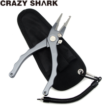 CrazyShark Aluminium Fishing Pliers Split Ring Cutters Fishing Scissors Multifunctional Hook Remover Line Cutter Tools 17cm camouflage fishing tools set aluminum fish grip gripper fishing pliers for remove hooks line cutters split ring pincers nippers