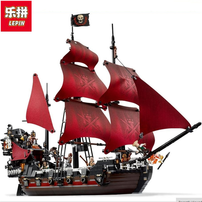 LEPIN 16009 1151pcs Queen Anne's revenge Pirates of the Caribbean Building Blocks Set Bricks Compatible Legoingly 1151pcs 16009 compatible movies 4195 ship pirates of the caribbean queen anne s revenge set building blocks toys for kids