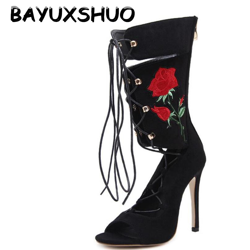 цена на BAYUXSHUO New Roman Embroider Gladiator High Heels Women Sandals Stiletto Booties Open Toe Strappy Lace Up zip Shoes Woman Boots