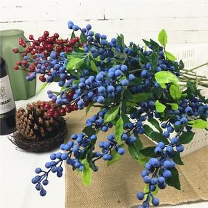 Черника длинные ветки Искусственные цветы ягоды фруктовое растение для домашнего сада декоративные искусственные цветы fleur artificielle