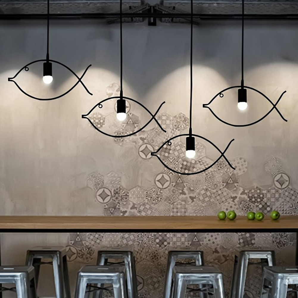 Small Simple Chandelier Us 42 89 35 Off Coquimbo Nordic Simple Iron Chandeliers Creative Restaurant Bar Small Fish Pendant Lamps Decorative Ac110v 240v E26 E27 In Pendant