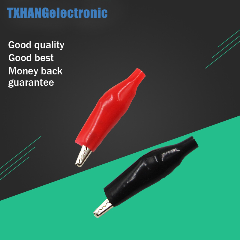 P2001 Hot 20 PCS Black Red Soft Plastic Coated Testing Probe Alligator Clips Crocodile Test Clip Wholease