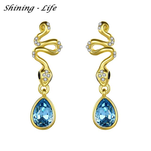 Novo 3 Cor Elegante Banhado A Ouro Brincos Gota Azul Cristal Serpente & Forma de Lágrima Brincos Bijoux Mulheres Brincos Para O Casamento