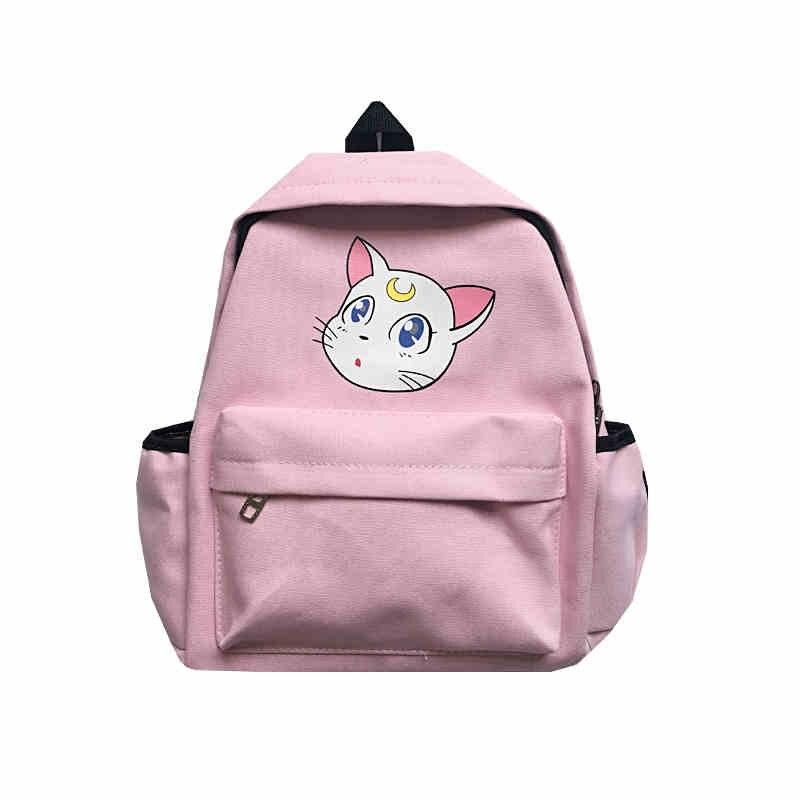 Women's Bags Backpacks Japanese Cute Luna Cat Backpack Bag Anime Sailor Moon Sweet Girls Cosplay Gifts Pink Kawaii Canvas Backpacks School Bags