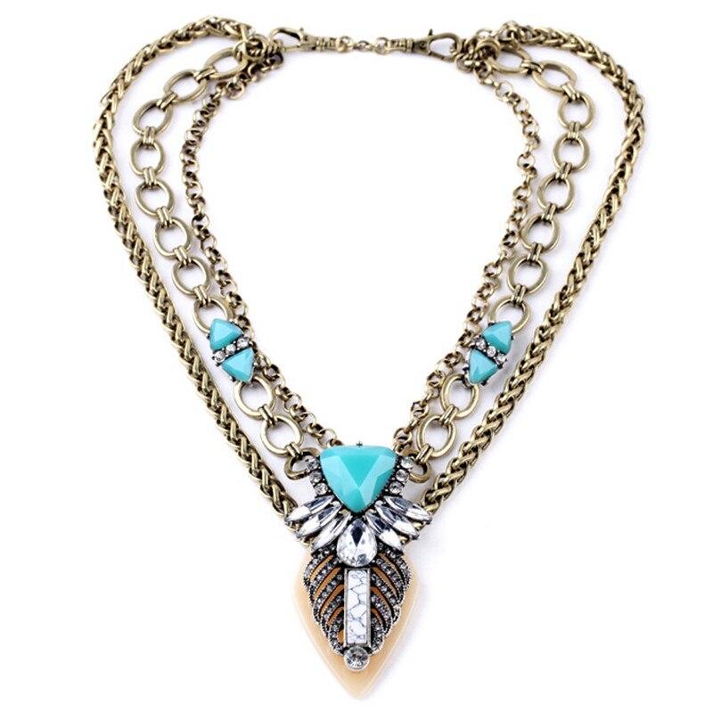 2d1a9b194691 Arte con clase de la vendimia en forma de V cristal flor patrón geométrico  azul GEM multi capa collar charm joyería