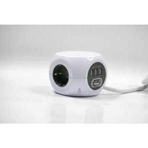 Image 2 - בית חכם כוח הארכת כבל שקע Schuko תקע 3 USB חנויות כולל פלט 2.4A מפצל מתאם עם 1.4m כבל אורך