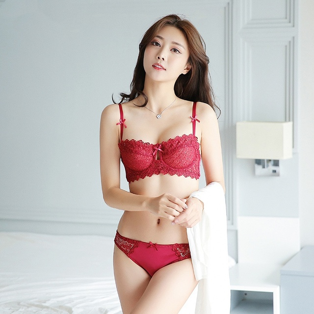 987f8adabf85a5 EFINNY Underware Ultra thin Three Quarter(1 2 B Cup) Bra Set Sexy ...