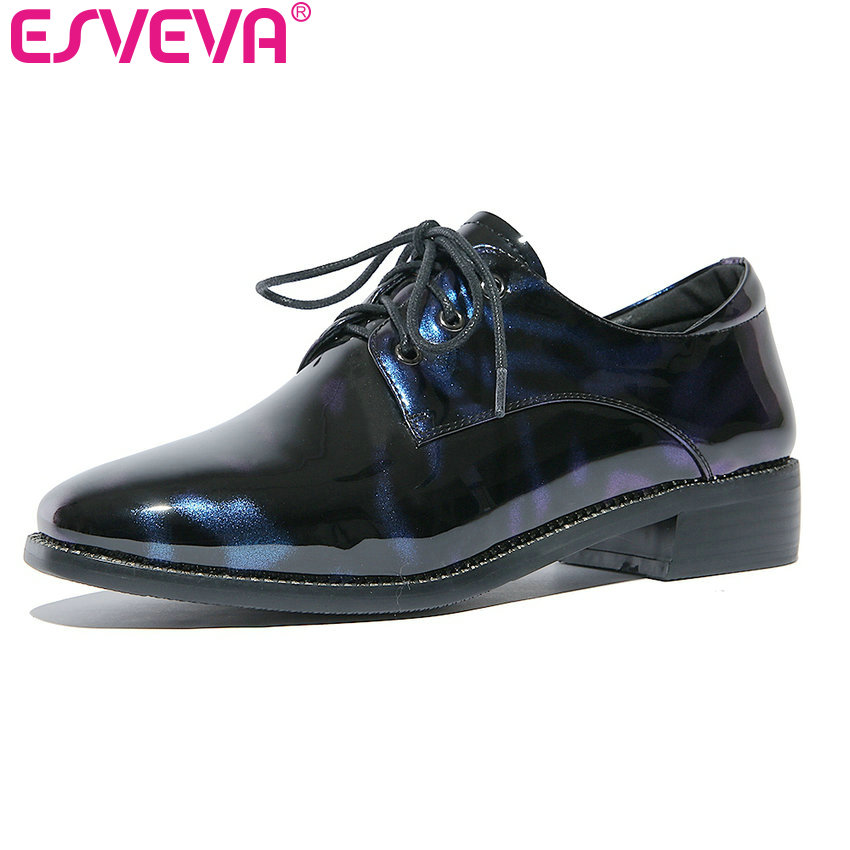ESVEVA 2017 New Pointed Toe PU Women Pumps Lace Up British Style Fashion Shoes Women Spring Square High Heel Pumps Size 34-39 xiaying smile new spring autumn women pumps british style fashion casual lace shoes square heel pointed toe canvas rubber shoes