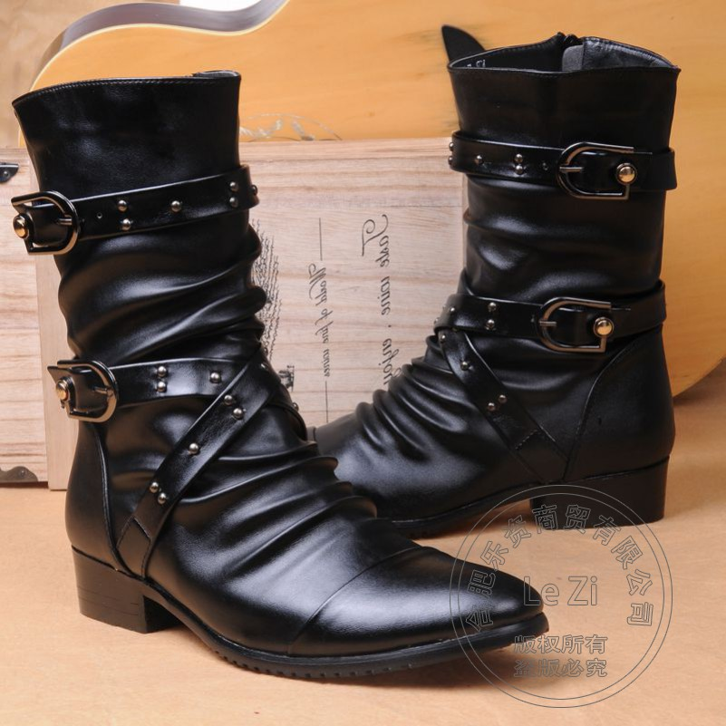 ФОТО Botas Pleated Cotton Padded Men Single Shoes Half Leather Belt Military Motorcycle Boots Winkle Picker Rivets Zip Elevator