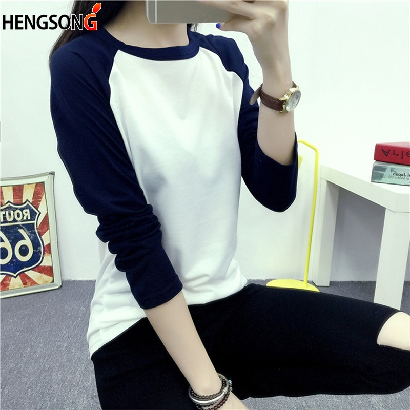 Vetement Femme New Color Block T-shirt Long Sleeve Autumn Tee  Women Patchwork Fall Fashion Multicolor O Neck Basic Top
