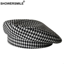 SHOWERSMILE Cotton Berets For Women Houndstooth White Black Painter Hat Ladies Elegant Spring Summer Female Artist French