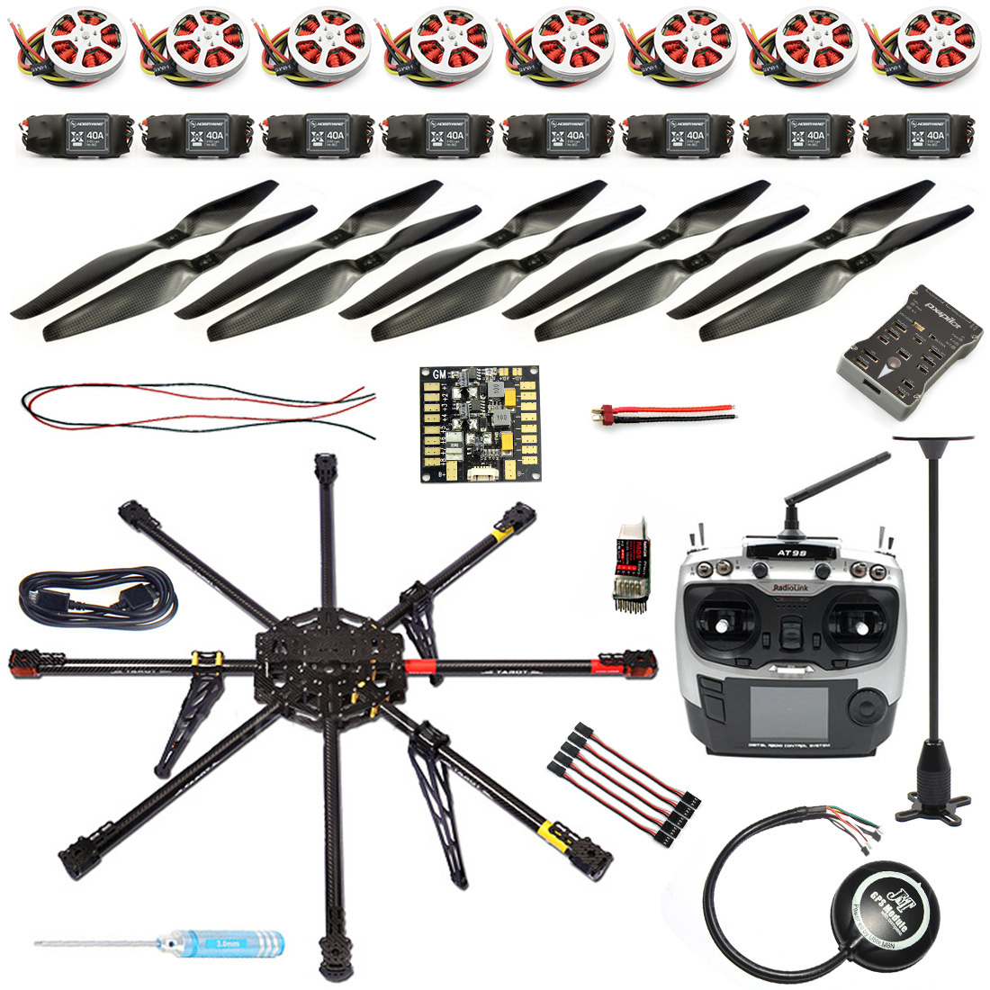 9CH 1000mm Carbon Octocopter Drone Kit With Color LED lamp And Multi Tone Buzzer Interface