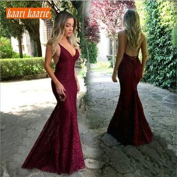 2a6f1c5442 De moda de Borgoña sirena vestido de noche largo 2019