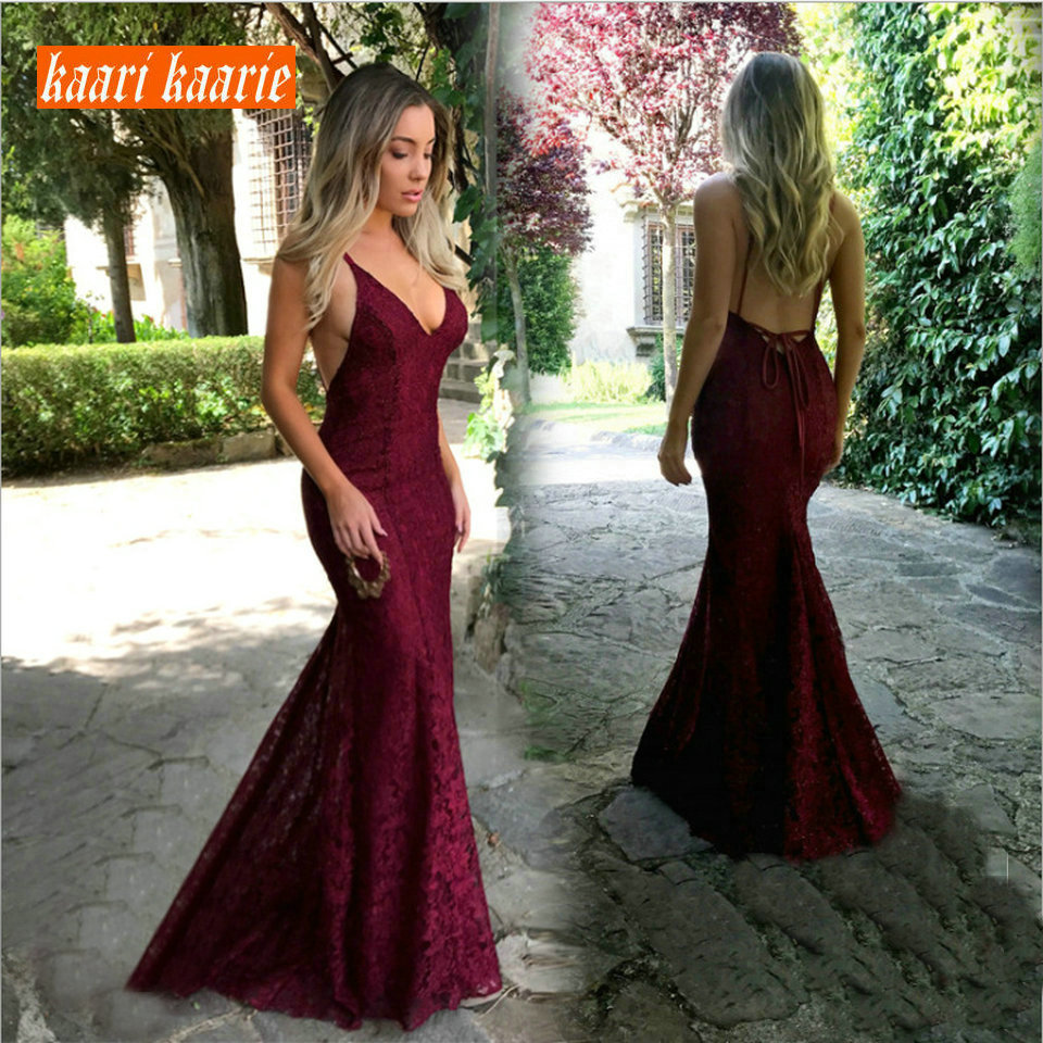Fashion Burgundy Mermaid Long   Evening     Dress   2019 Sexy Club   Evening   Gown V-Neck Lace Backless Slim Fit Formal Party   Dresses   Prom