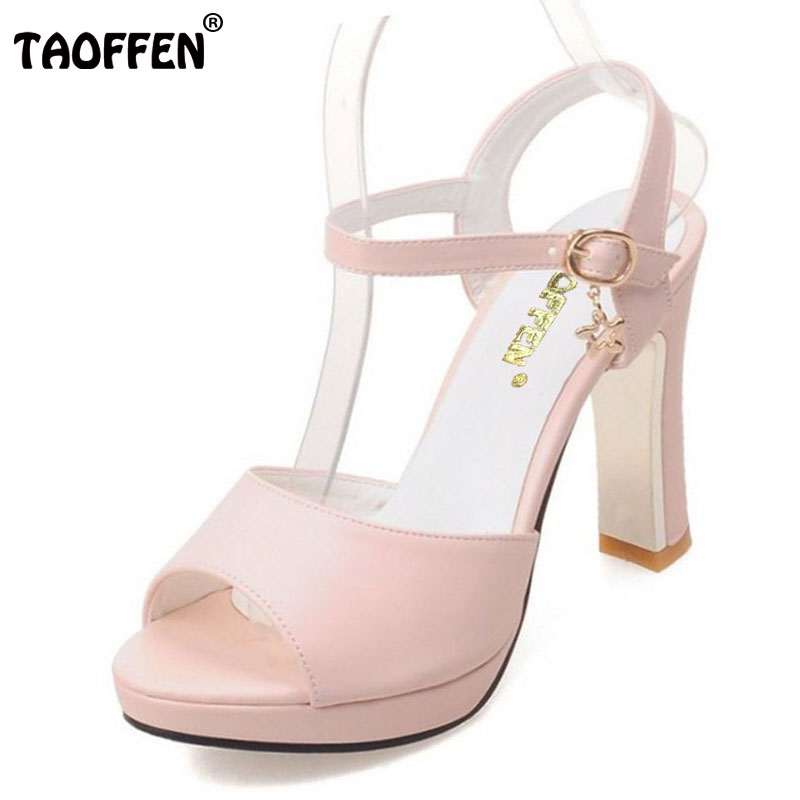 TAOFFEN 4 Colors Size 34-42 Women High Heel Sandals Ankle Strap Thin Heels Sandals Summer Shoes Women Dress Patry Sexy Footwear new arrival black women pumps ankle strap sandals platform cutout shoes woman sexy thin high heel sandals size 34 to 42 free shi