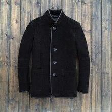 2015 Fashion The Original Single Men's Business Leather Jacket Coat Chinese Tunic Suit Men's Leather Jackets Fur Sheep Skin 1345