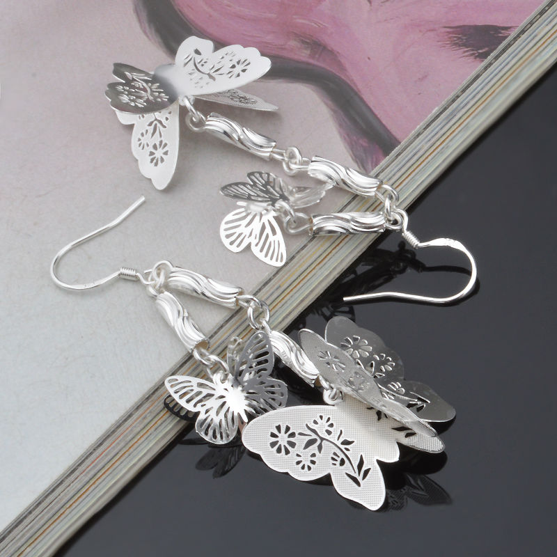 New Sliver Plated Hol Round butterfly Dangle Earrings for Women Long Silver Earings Female Drop Earring Wholesale E06