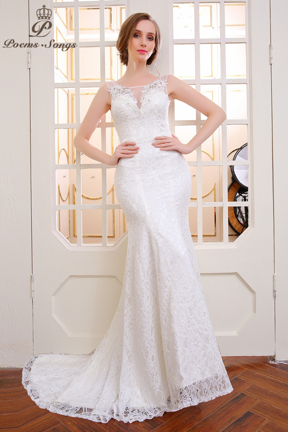Poemssongs lace flower mermaid wedding dress vestido de noiva sereia com renda arabische abendkleider ball gown