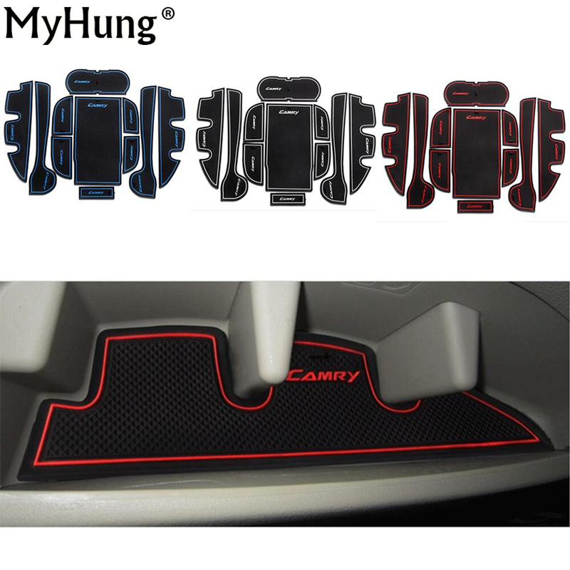 Fit For Toyota Camry 2012 To 2015 Car Door Groove Mat Anti-Slip Mats Interior Cup Cushion Car Styling Latex 11pcs Per Set for honda stepwgn 2015 2018 non slip mats rubber cup cushion door groove mat 2016 2017 accessories car styling car stickers