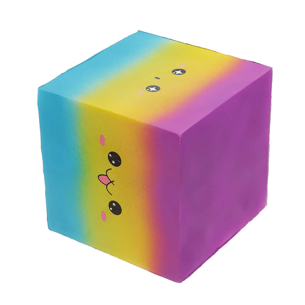 Kawaii Радуга квадрат Jumbo мягкое огромный торт Solw поднимающаяся сжимаемая игрушка для детей снятие стресса телефон ремень ремешки