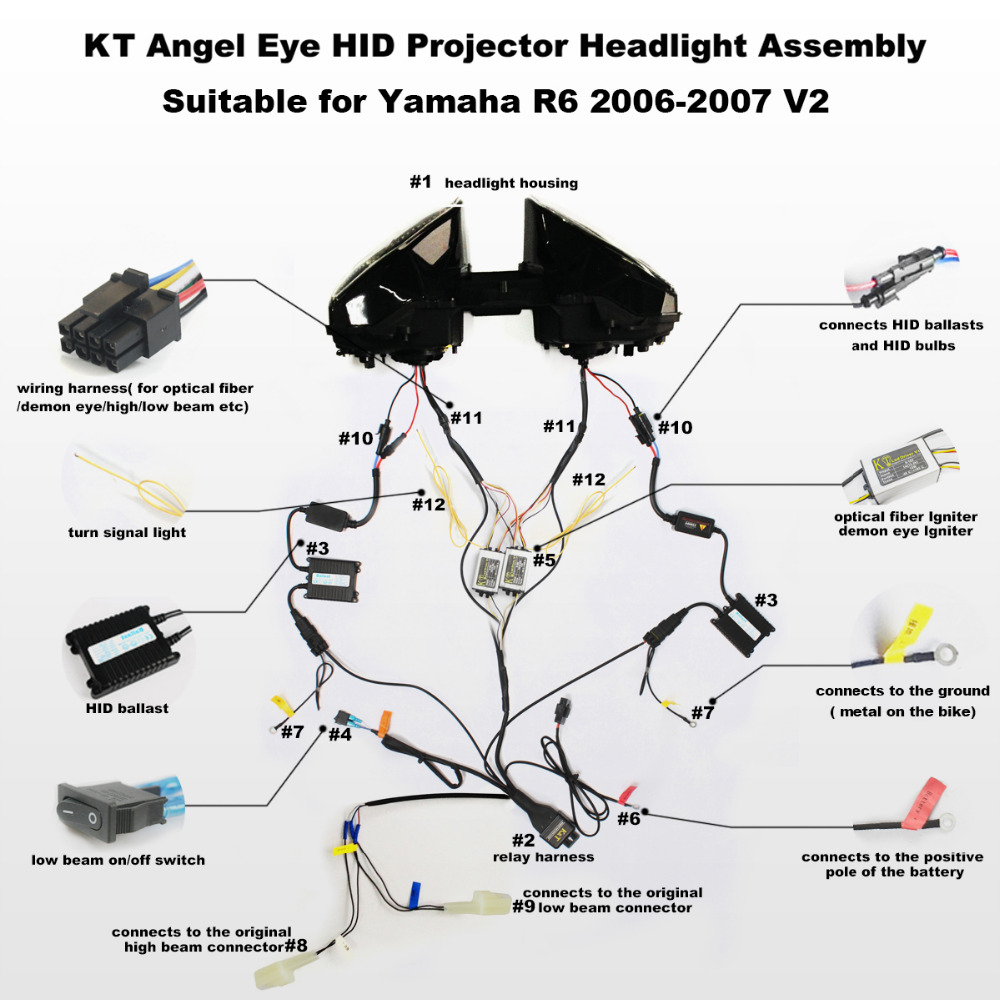 medium resolution of kt headlight for yamaha yzf r6 2006 2007 led optical fiber red demon driving light relay diagram r6 hid lights wiring diagram