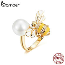 BAMOER Genuine 925 Sterling Silver Freshwater Pearl And Bee Gold Color Female Finger Rings for Women Wedding Jewelry BSR017(China)