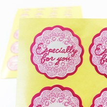 120pcs/lot Stickers Flower Shape Rose Pink Lace Edge 'Especially for you' DIY Multifunction Seal Sticker Gift Packaging Label 90pcs lot round gray blue pink lace flower especially for you sealing sticker gift label