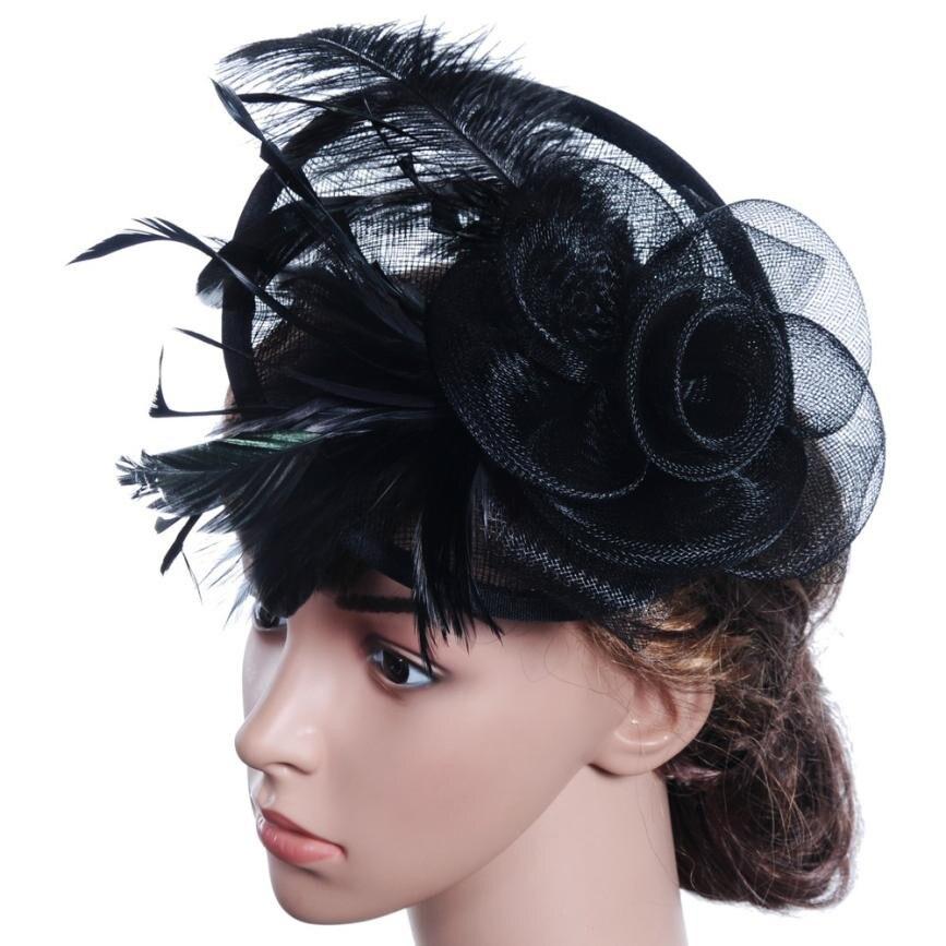 Trendzone 503 Mode Frauen Fascinator Mesh Hut Bänder Und Federn Hochzeit Party Hut Freies Verschiffen